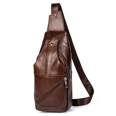 Genuine Leather Business Casual Brown Crossbody Bag
