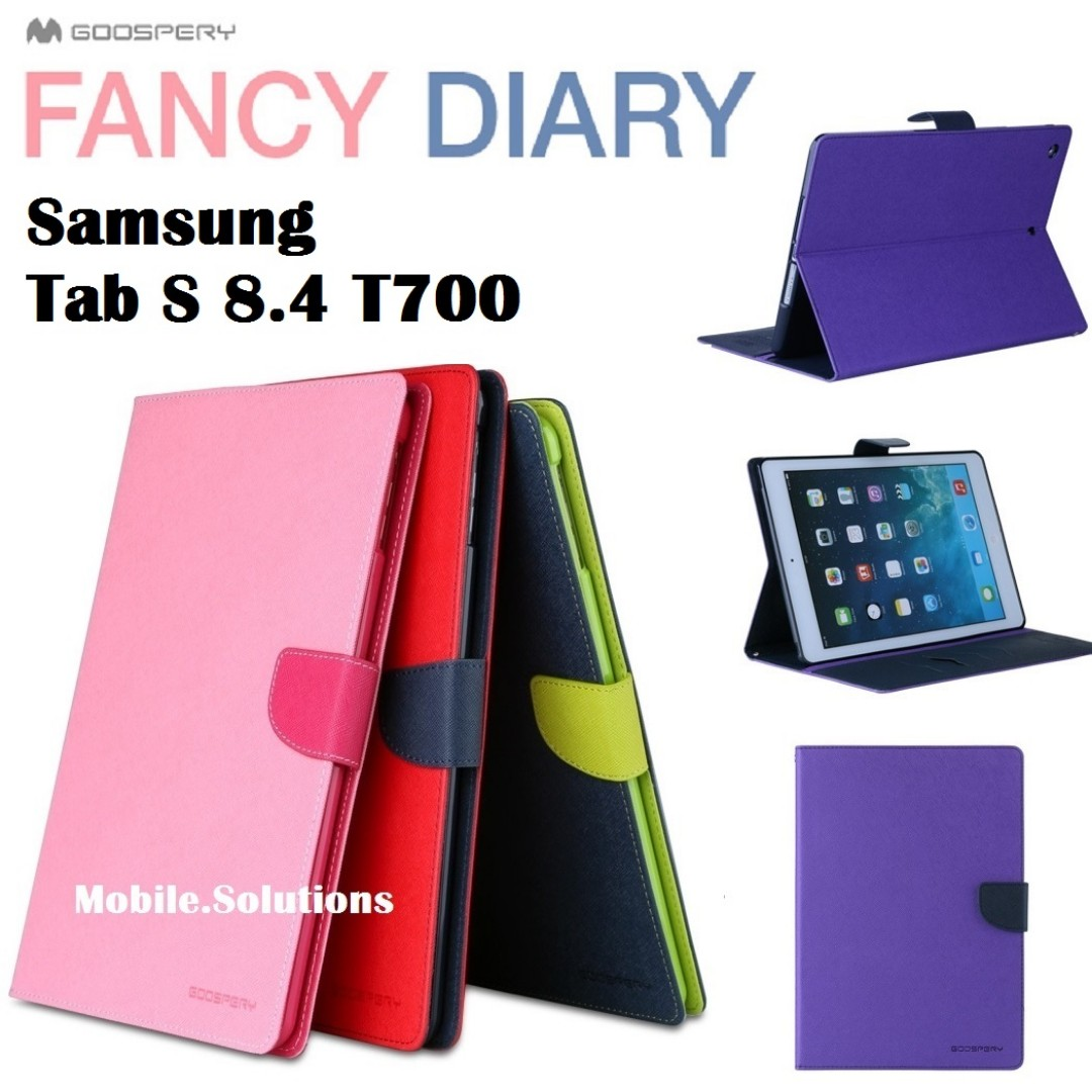 Goospery Samsung Tab S 84 T700 Fancy Diary Case Mobiles Tablets Iphone 8 Plus Yellow Hotpink Photo
