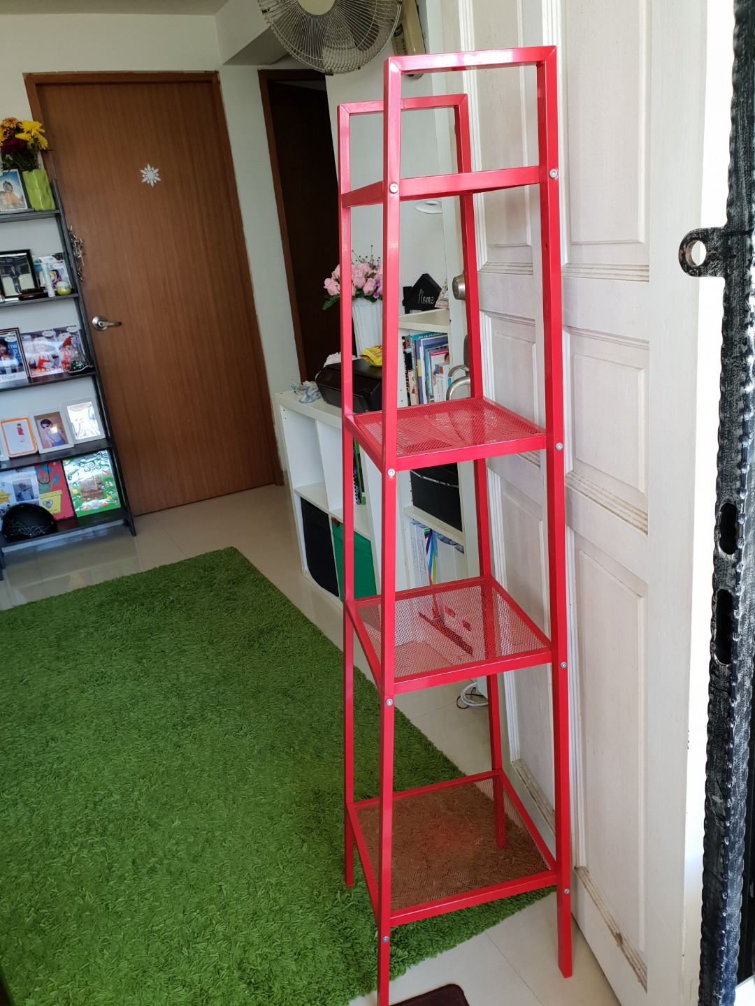 Terrific Ikea Red Colour Metal Shelf Unit Furniture Shelves Interior Design Ideas Clesiryabchikinfo