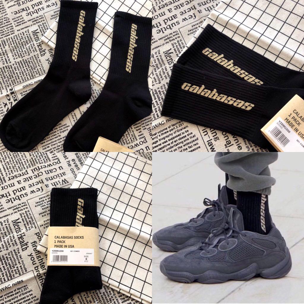 "1370a8dc7 INSTOCKS Black Yeezy ""Calabasas"" Long Socks"