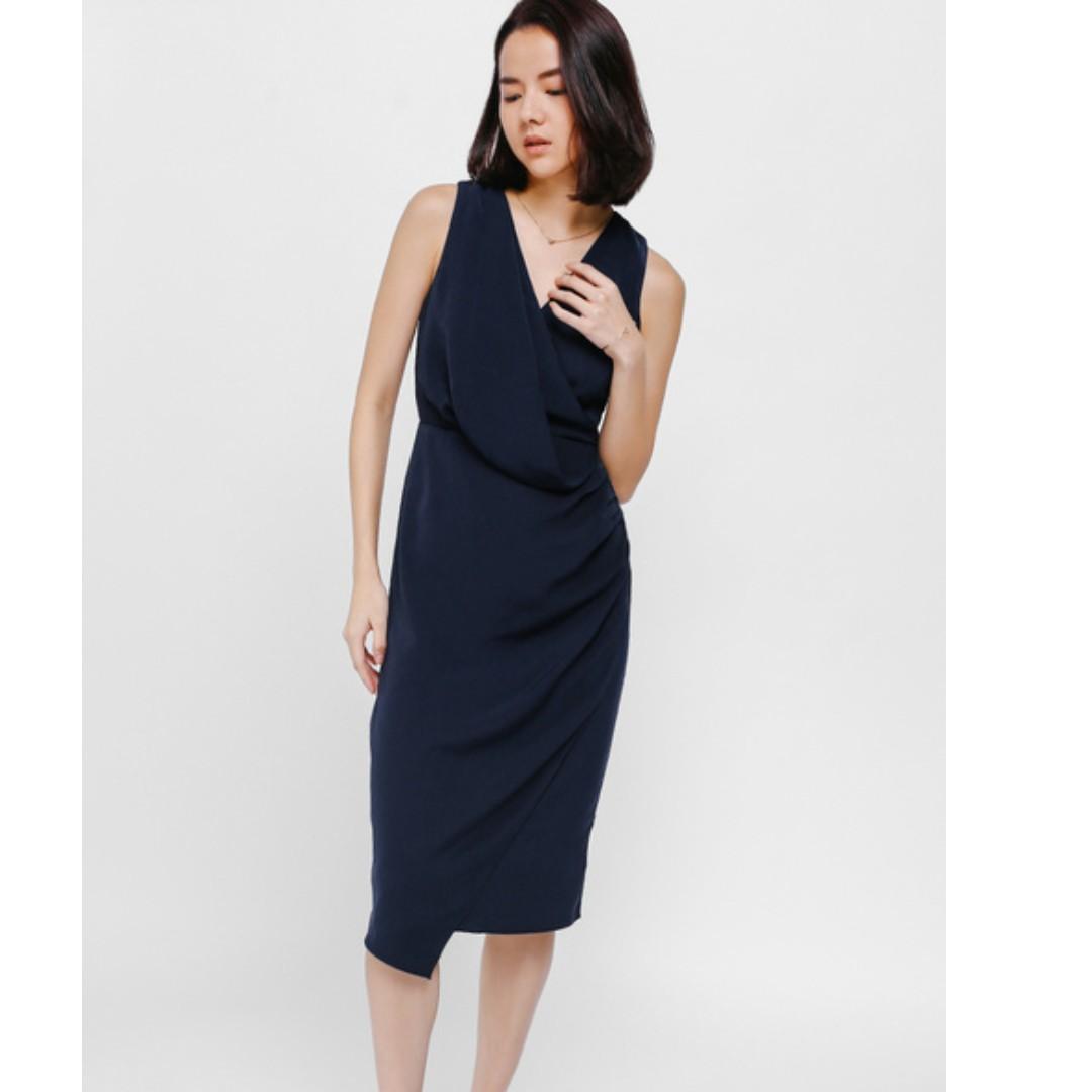 Lb Aveon Asymmetrical Drape Crossover Dress (Navy BLue)