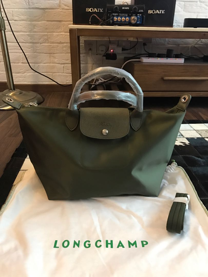 Longchamp La Plaige Neo Medium Size Army Green 1515 Haya Raya Big Le Pliage Tote Khaki Sale Womens Fashion Bags Wallets Handbags On Carousell