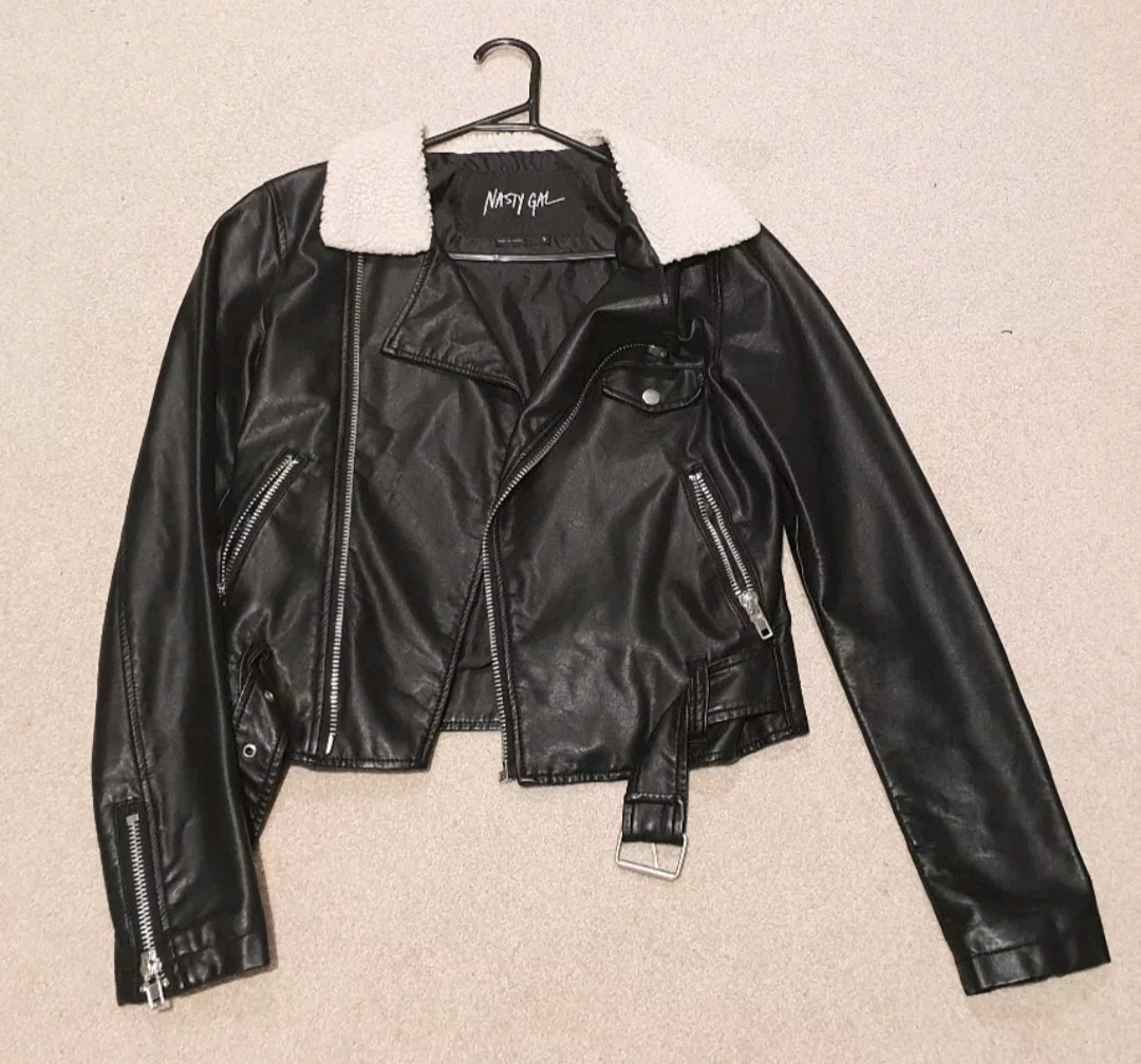 Nastygal faux leather jacket size S