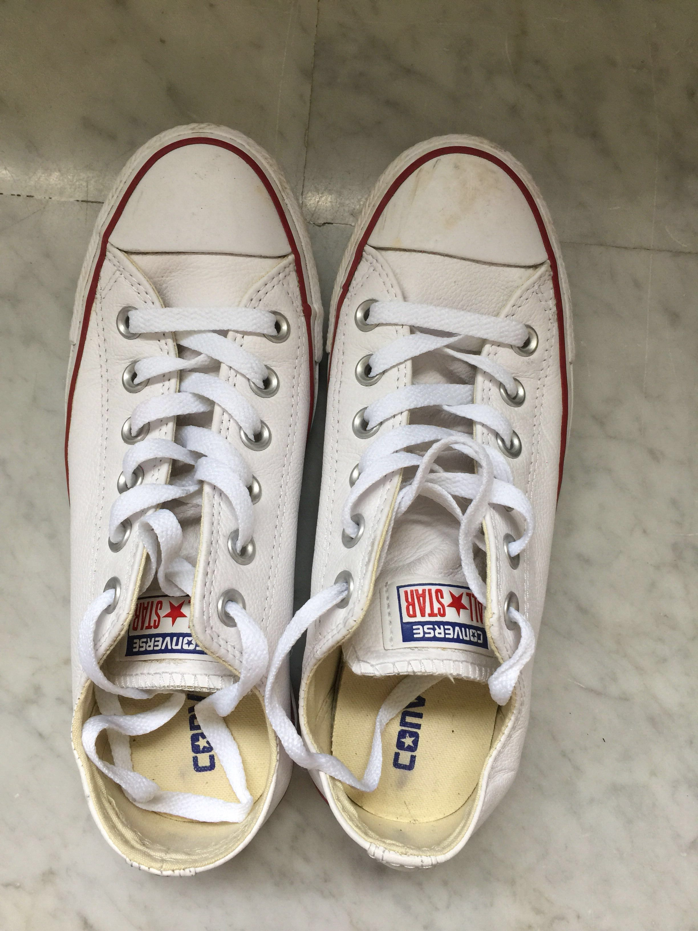 New white leather Converse CT OX all star white shoes 24cm 672664b59
