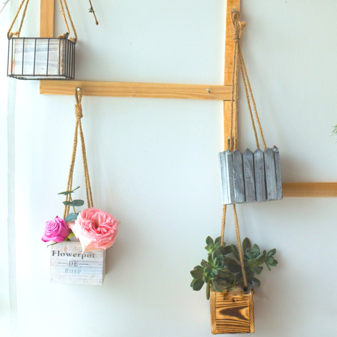 Planter Box Hanging Wooden Box Gardening Pots Planters On Carousell