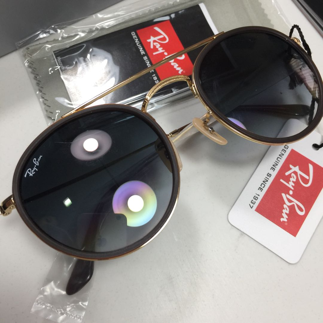Ray-Ban Round Double Bridge Light Blue, Bronze-Copper Frame, Women s  Fashion, Accessories on Carousell 19937a63a1
