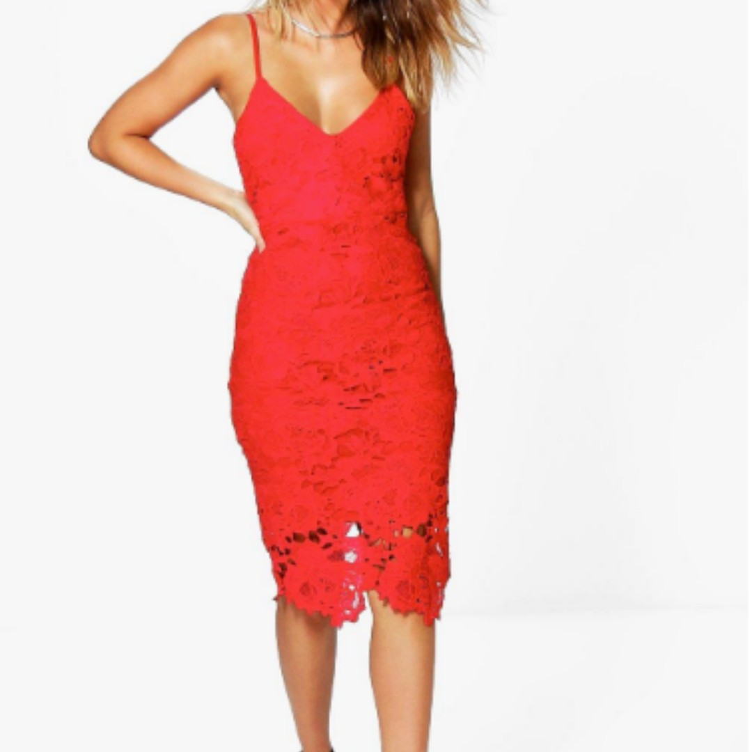 Red Crochet Lace Strappy Middy Dress- Size 12