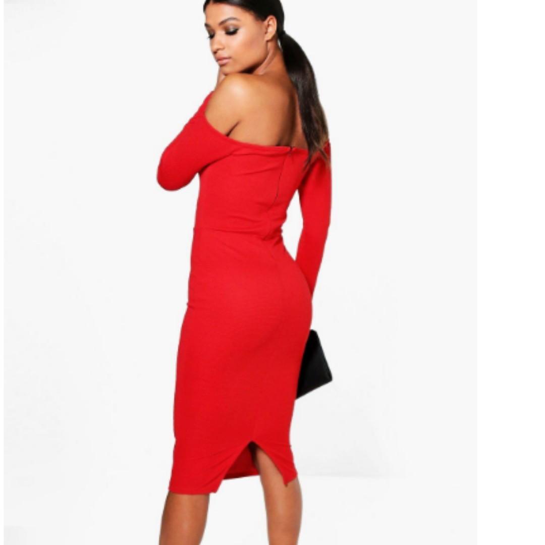 Red Off Shoulder V Plunge Midi Dress- Size 12