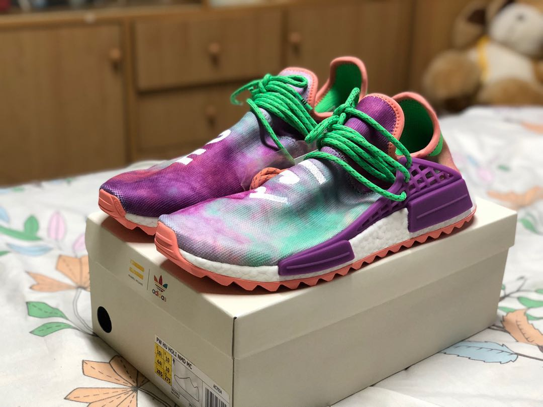 d2b505a7b02 (UK10 US10.5) Pharrell X Adidas NMD Hu Trail Holi Chalk Coral