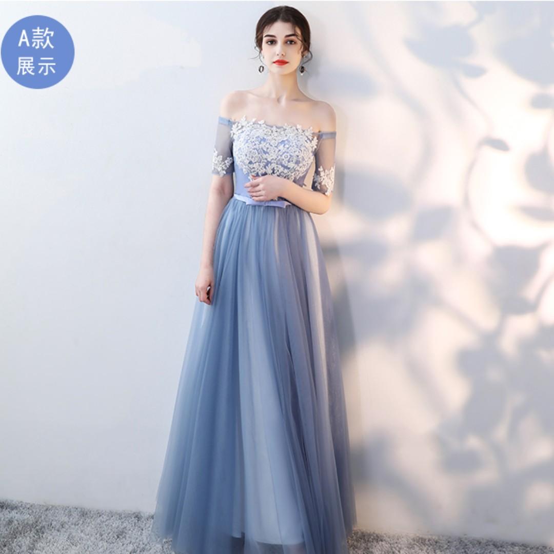 Wedding Collection - Best Friends Bridesmaid Blue Grey Gowns, Fesyen ...
