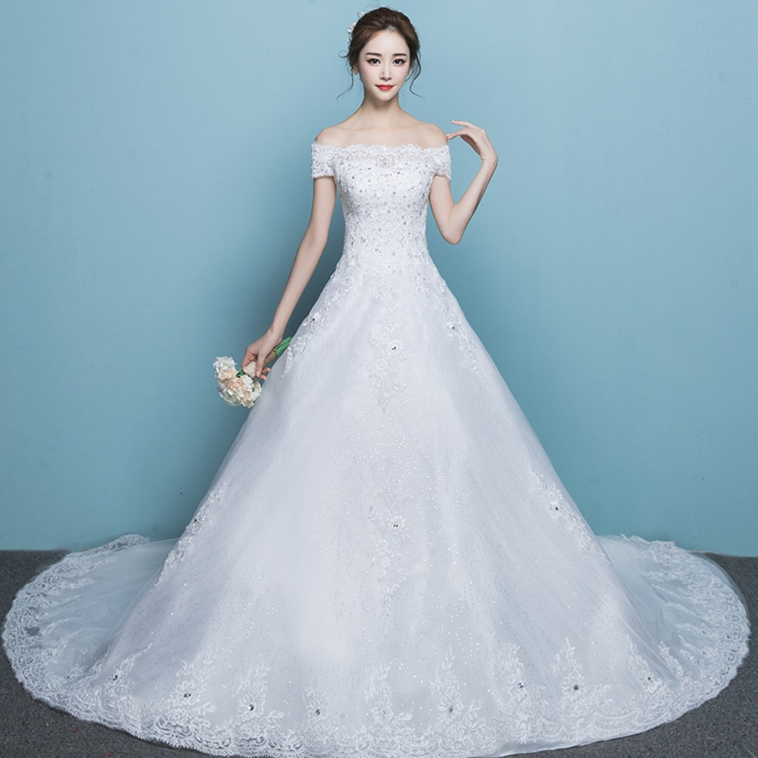 Wedding Collection Korean Style T Off Shoulder Design Long Tail Wedding Gown