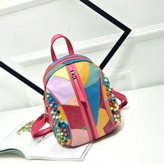 Women Genuine Leather Patchwork Handbag Backpack