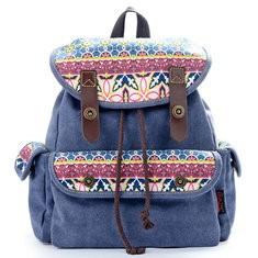 Women National Printing Casual Backpack School Rucksack