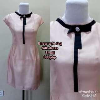 Silk w bow pink dress