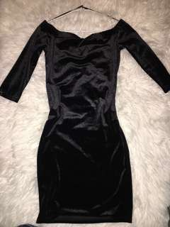 Black Velvet Off-Shoulder Dress SMALL
