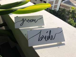 Bride and groom wooden signages
