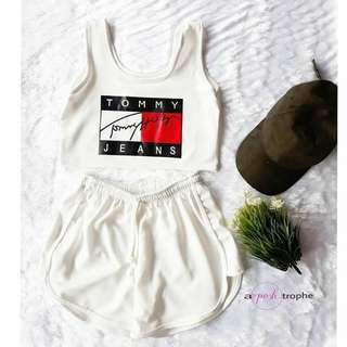 Tomy Jeans Crop Top and Shorts