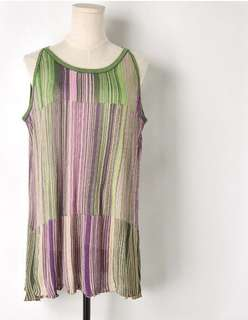 PO - Vintage Gradient Color Stripes Sleeveless Knit Shirt harajuku Top
