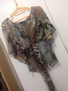 BCBG Silk chiffon printed patchwork top fits XS -20% of retail price on sale !