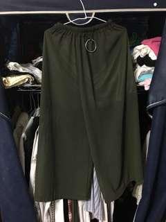 🚚 軍綠雪紡寬褲