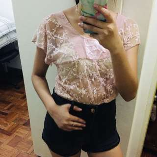 Pink Floral See-through Top
