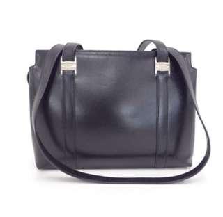 中古 Ferragamo Leather Tote Bag Vintage 黑色牛皮 大袋 返工款 實用袋