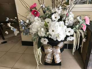 Large vase with good quality artificial flowers