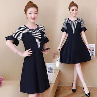 (L~5XL) Korea Summer striped dress