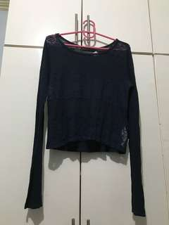 Hollister navy blue cropped long sleeves