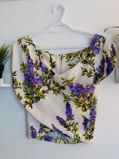 Cropped flower blouse