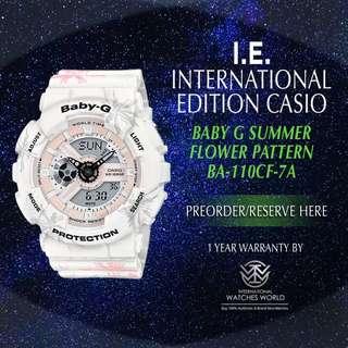 CASIO INTERNATIONAL EDITION BABY G SUMMER FLOWER PATTERN ANALOG DIGITAL BA110CF-7A