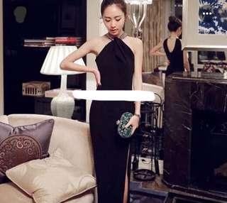 Floor Length Halter Neck Black Slit Dress with Gold Collar for Cocktails/Weddings