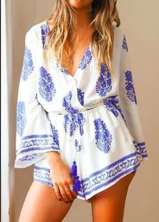 Feather Print White Short Romper
