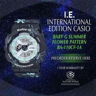 CASIO INTERNATIONAL EDITION BABY G ANALOG DIGITAL SUMMER FLOWER PATTERN BA110CF-1A