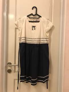 White Navy dress - baju hamil