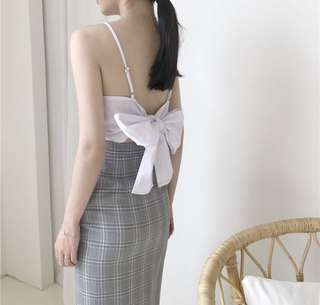 Pending - 🆕 Korean White Ribbon Tie Top