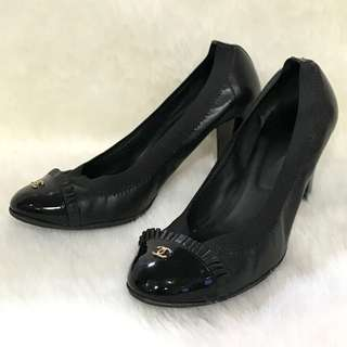 🚚 二手正品 香奈兒 CHANEL G26481 黑色羊皮鬆緊邊高跟鞋 37號。星采精品。
