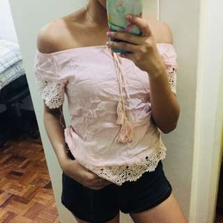 Pink Off Shoulder Lace Top