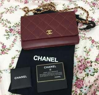 Vintage Chanel酒紅色菱格WOC