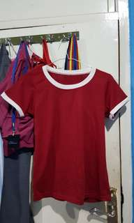 ⚁ [CLEARANCE SALE] Kaos Merah List Putih Ringer Tee H&M look a like