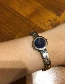 ELLE 大logo 小腕錶 藍面銀色 氣質淑女 簡約