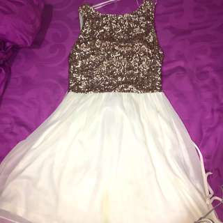 New Look Gold White Sequin Dress