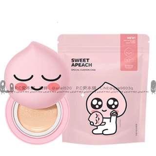 韓國連線預購THE FACE SHOP x APEACH聯名款自組氣墊粉餅殼+補充蕊