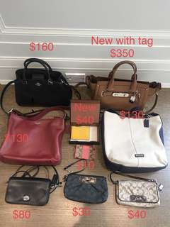 Selling lots of coach bags and wallets