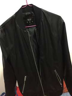 Bershka Synthetic Leather Bomber Jacker