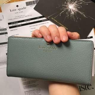 [特價$599]美國官網直運:Kate Spade GRAND STREET STACY 灰湖藍 長銀包 禮物