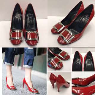 Roger Vivier red patent leather high heel size 38