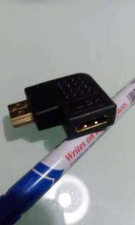 L shape HDMI male to female adapter