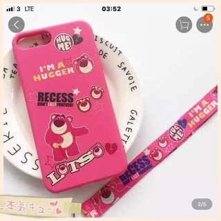 正品日本Lotso 草莓紅蘋果手機殼連手機繩(包郵