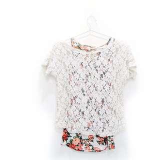 玫瑰蕾絲花紋兩件式罩衫
